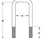 """2"""" Square Galvanized Long U-Bolt - 84411G"""