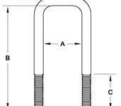 "3"" Square Galvanized Short U-Bolt - 84420G"